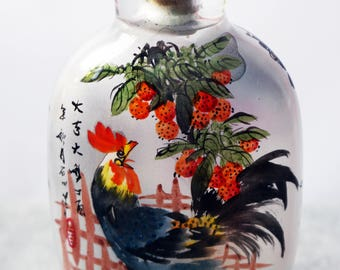 Inside Drawing Chinese Snuff Bottle with Rooster Figure