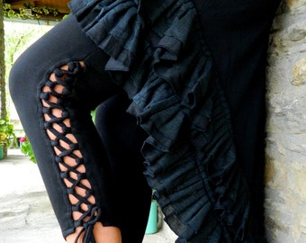 Black Leggings, Yoga pants for her, Tribal wear Pixie Leggings, Festival clothes Fairy pants, Rave clothing for women, Psy chic, Funky Style