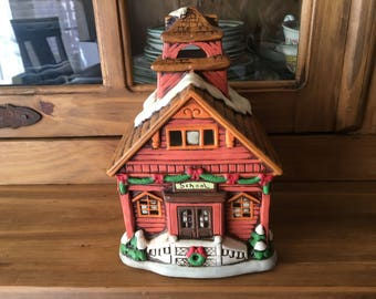 1986 Geo. Z. Lefton Colonial Village Hand-painted Lil Red Schoolhouse Collectible Building (no box)