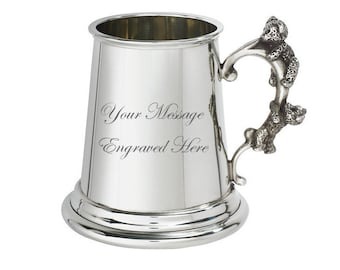 Personalised Teddy Bear Handle Pewter Baby Mug Customised Engraved Message