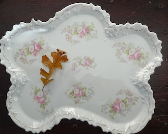 Antique Victorian dresser tray with pink rose and white flower pattern, circa 1900-1910, scalloped edge, gold trim, quite lovely, china