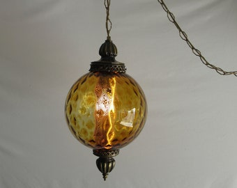 Mid Century Glass Swag Lamp With Hollywood Regency Style, Amber Color  Italian Globe Lamp With