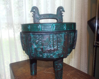 Vintage 1960s Asian Home Decor Ornate Asian Metal Footed Storage Container Home  Decor