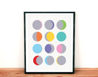 moon phases artwork, moon wall art, modern graphic print, abstract art, colourful circles, space themed nursery, printed poster illustration