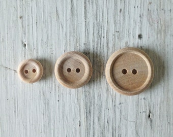 Natural Wood Buttons, Unfinished