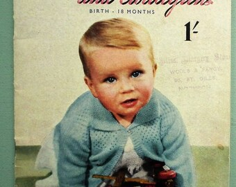 Vintage 1940s Baby Knitting Patterns Book Matinee Coats and Cardigans Birth - 18 Months Bestway K121 UK 40s Babies Clothes Clothing Layette