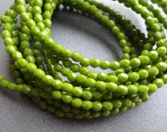 3mm Fire Polished Beads - Opaque Olive Green - Faceted Rounds - Czech Glass Beads