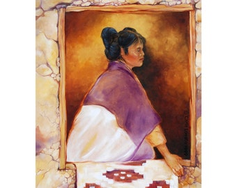 Native American, Oil painting, Hopi maiden, large Giclee print, Native woman, earth tones, Hopi Woman, russet, purple, gold