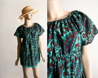 Vintage 1970s Mini Dress Top - Psychedelic Paisley Print Teal Green Burgundy Empire Waist Tunic Dress - Small