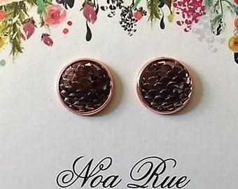 Rose Gold Dragon Scale 12mm Stud Earrings