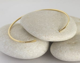 Smooth Solid Gold Bangle, 14K Cuff Bracelet, Simple Gold Stacking Cuffs