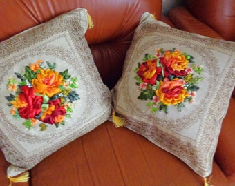 Ribbon embroidery  pillowcases two, roses embroidery, interior decoration pillows,  pillowcases with a roses