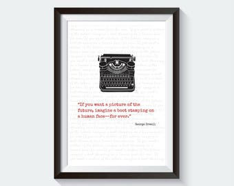 1984 George Orwell print | George Orwell poster | George Orwell quote | 1984 | Literary quotes | Literary print