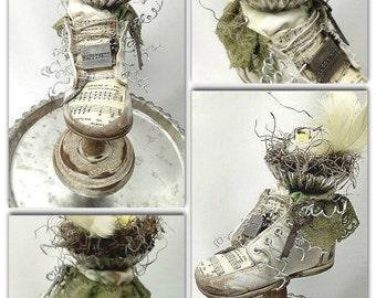 Repurposed Vintage Baby Shoe, Altered Bird Nest ,Worn leather, Cottage Chic