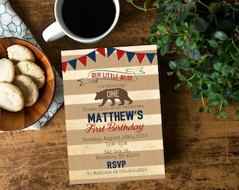 Rustic Our Little Bear Themed Birthday Party Invite, Boys Birthday Invite, Bear Invite, Personalized Year Invite, Red Navy Blue Birthday