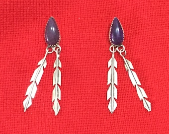 Onyx Sterling Silver Feather Native American Earrings Southwest  Dangling Tribal