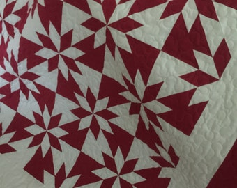 Quilt Star Flower Red and White Traditional Queen Ready to Ship
