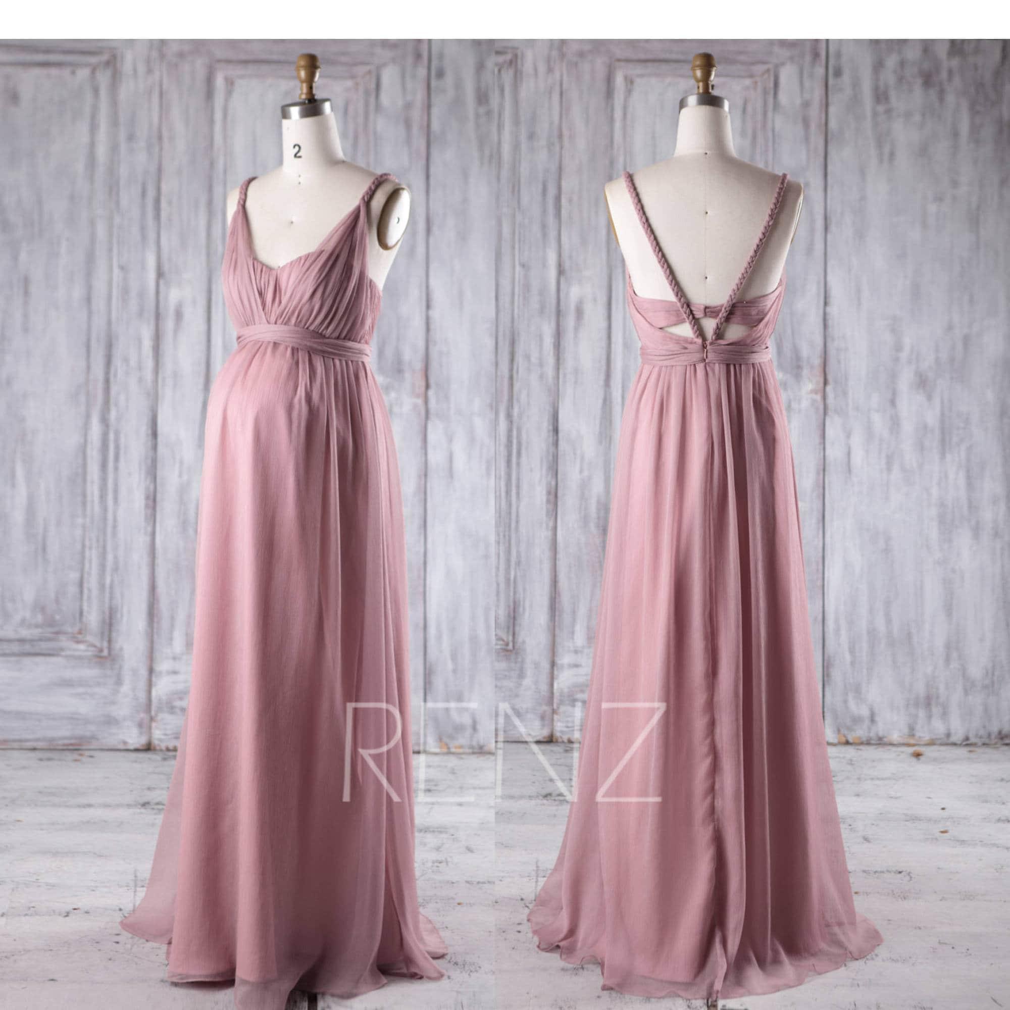Maternity Bridesmaid DressDusty Rose Chiffon DressPlusSize