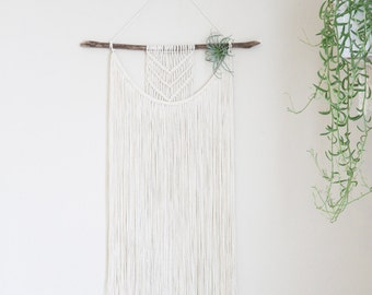 Large 3 ft Boho Macrame Wall Hanging with Air Plant