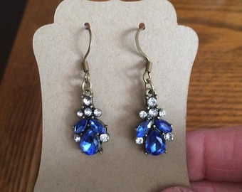 Blue and crystal drop earrings