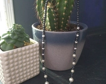 Navy and white beaded necklace