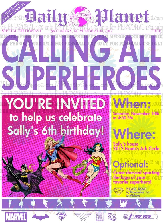 Girls Superhero Newspaper Custom Printable Birthday Invitation