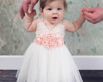 Flower Girl Dress, Ivory sequin dress, Ivory Cream Tulle, Ivory Cream Wedding, Sash Belt, Gold glitter, Boho Chic Tutu, White Wedding