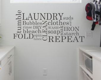 Laundry Wall Decal - Subway Laundry Room Decor Vinyl Wall Art - Laundry Vinyl Lettering