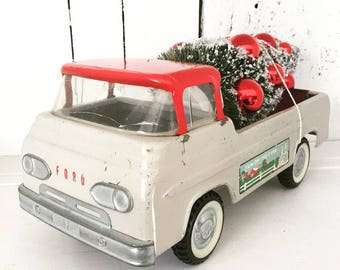 Vintage Nylint Toys Fun On The Farm Econoline Truck Toy with Bottle Brush Tree, Christmas Tree Truck, Ford, Red Tan Nylint