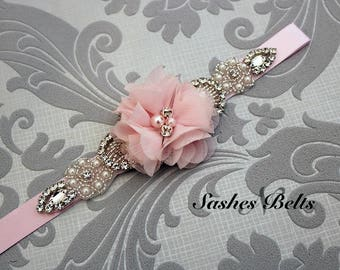 Light Pink Flower Girl Belt, Blush Pink  Flower Sash Belt, Wedding Belt, Pink Belt Sash, bridesmaid belt, dress belt