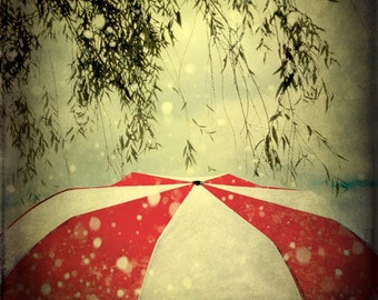 Large Surreal Photograph Print Wall Art Red White Umbrella Dark Leaves 20x24 inch Fine Art Photography Print - It Can't Rain All the Time