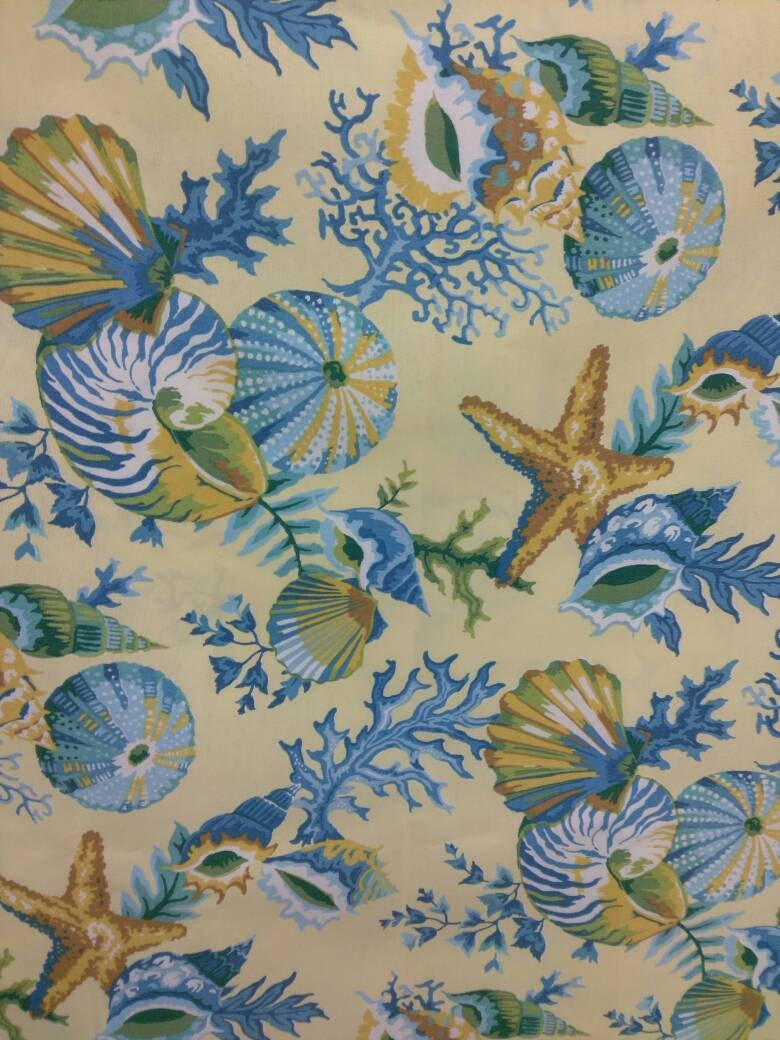 Yellow Blue Sea Scape Design Upholstery Fabric By The Yard For