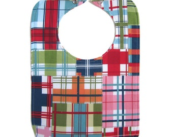 Madras Plaid Reversible Bib with snap closure - lined with cotton batting