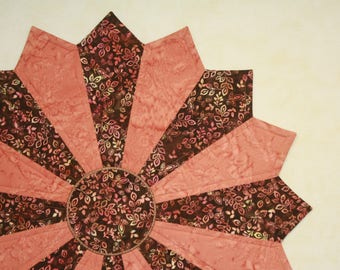 """Quilted Table Topper, LARGE, Round Table Centerpiece, Handmade, Home Decor, Housewarming Gift Idea, Mother's Day Gift Idea  """"Coral Leaf"""""""