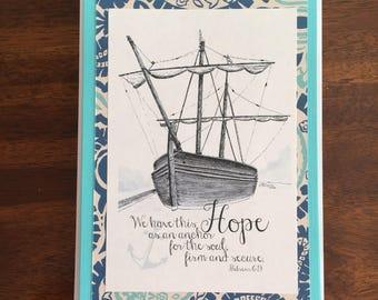 Hope as an Anchor Art Print Handmade Greeting Card Lighthouse