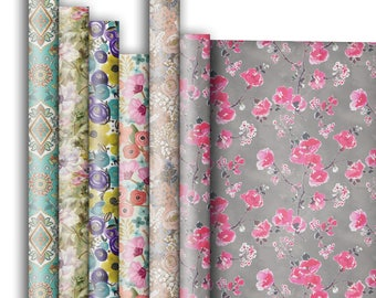 Jillson & Roberts Premium Gift Wrap Roll Assortment, Floral Designs (6 Rolls)
