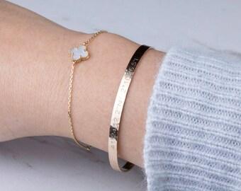 Silver or gold or rose gold Half Cuff Bracelet, Hammered Bar Bracelet, Engraved Inspirational Quote, Meaningful Gift,Personalized bracelet