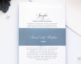 Harmony Dusty Blue and Grey Wedding Invitation Set, Elegant Wedding Stationery, Wedding Invitation Set Templates or Printed Invitation Kits