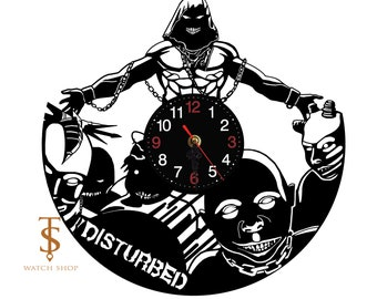 Disturbed Vinyl Clock Wall Vinyl Clock Nursery Clock Great Gift Idea Vinyl Wall Clock Rock Band David Draiman The Guy