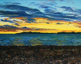 """Landscape Art Print - """"West Bay Sunset"""", Limited Edition Giclee Print on Fine Art Paper of the Great Lakes shoreline, 10"""" x 16"""""""