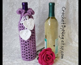 Lavender Wine Bottle Cozy, Crochet Wine Bottle Gift Bag Holder, Handmade Gift for Her, Valentines Day Gift, Ready To Ship
