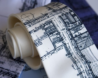 Detroit Blueprint necktie. Architect gift - mens silk tie. Cass Tech Detroit blueprint. Detroiter gift, city planner, builder, Detroit gift.