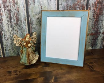 8 x 10 Picture Frame, Baby Blue Rustic Weathered Style With Routed Edges, Rustic Frames, Wooden Frames, Rustic Wood Frame, Home Decor