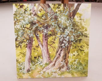 Springtime Trees Foliage Watercolor Painting 24 inches x 2 feet square Hand Painted custom