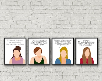 ALL 4 PRINTS - Girls hbo, digital download, printable, Lena Dunham, Marnie, Hannah, Shoshana, Jessa funny posters quote, television show