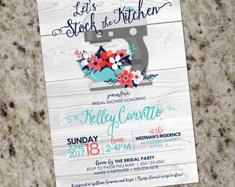 Kitchen Bridal Shower Invitation | Stock the Kitchen Wedding Shower Invite | Kitchen Shelves Mixer | Cooking Theme | DIY | Print Your Own