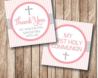 Instant Download . Printable First Holy Communion Tags, Cross Thank You Tags, Girl Printable First Communion Tags, Printable Communion Tags