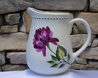 Hand Painted Ceramic Pitcher with Magenta Chrysanthemums