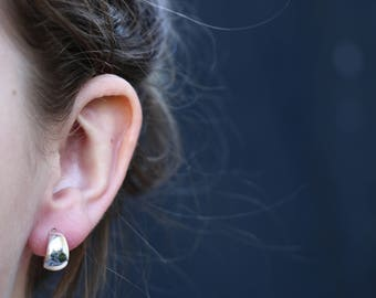 Stud Hoop Earrings, Half Hoop Earrings, Sterling Silver Earrings, Silver Studs, Crescent Earrings, Modern Jewellery