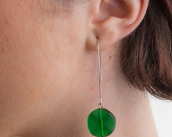 Green and Silver Drop Earrings, Vintage Earrings, Drop Earrings, Silver Earrings